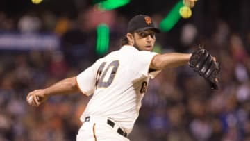 Sep 29, 2015; San Francisco, CA, USA; San Francisco Giants starting pitcher Madison Bumgarner (40) pitches the ball against the Los Angeles Dodgers during the first inning at AT&T Park. Mandatory Credit: Kelley L Cox-USA TODAY Sports
