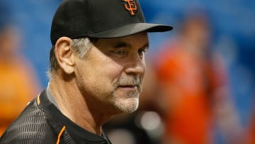 Jun 17, 2016; St. Petersburg, FL, USA; San Francisco Giants manager Bruce Bochy (15) prior to the game against the Tampa Bay Rays at Tropicana Field. Mandatory Credit: Kim Klement-USA TODAY Sports