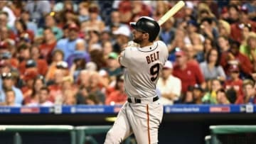 Aug 2, 2016; Philadelphia, PA, USA; San Francisco Giants first baseman Brandon Belt (9) watches his three run home run during the fifth inning against the Philadelphia Phillies at Citizens Bank Park. Mandatory Credit: Eric Hartline-USA TODAY Sports
