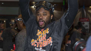 Oct 2, 2016; San Francisco, CA, USA; San Francisco Giants starting pitcher Johnny Cueto (47) celebrate cinching the wild card against the Los Angeles Dodgers at AT&T Park the San Francisco Giants defeated the Los Angeles Dodgers 7 to 1. Mandatory Credit: Neville E. Guard-USA TODAY Sports