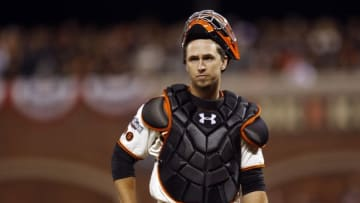 Oct 11, 2016; San Francisco, CA, USA; San Francisco Giants catcher Buster Posey (28) reacts during the ninth inning of game four of the 2016 NLDS playoff baseball game against the Chicago Cubs at AT&T Park. Mandatory Credit: John Hefti-USA TODAY Sports