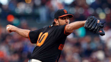 SAN FRANCISCO, CA - SEPTEMBER 15: Madison Bumgarner #40 of the San Francisco Giants pitches against the Colorado Rockies during the first inning at AT&T Park on September 15, 2018 in San Francisco, California. (Photo by Jason O. Watson/Getty Images)