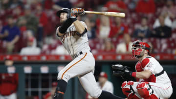 CINCINNATI, OH - MAY 03: Evan Longoria #10 of the San Francisco Giants hits a solo home run to break a tie game in the 11th inning against the Cincinnati Reds at Great American Ball Park on May 3, 2019 in Cincinnati, Ohio. The Giants won 12-11 in 11 innings. (Photo by Joe Robbins/Getty Images)