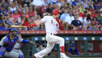 CINCINNATI, OHIO - JUNE 28: Scooter Gennett #3 of the Cincinnati Reds hits the ball against the Chicago Cubs at Great American Ball Park on June 28, 2019 in Cincinnati, Ohio. Gennett is making his season debut after being out with an injury. (Photo by Andy Lyons/Getty Images)