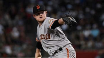 PHOENIX, ARIZONA - AUGUST 17: Logan Webb #62 of the San Francisco Giants delivers a first inning pitch against the Arizona Diamondbacks at Chase Field on August 17, 2019 in Phoenix, Arizona. Webb is playing in his first MLB game. (Photo by Norm Hall/Getty Images)