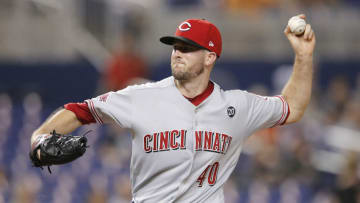 MIAMI, FLORIDA - AUGUST 29: Alex Wood #40 of the Cincinnati Reds delivers a pitch against the Miami Marlins during the third inning at Marlins Park on August 29, 2019 in Miami, Florida. (Photo by Michael Reaves/Getty Images)