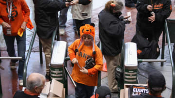 SAN FRANCISCO, CA - APRIL 13: A fan wearing a panda hat enters AT&T Park for the opening day game between the San Francisco Giants and the Pittsburgh Pirates on April 13, 2012 in San Francisco, California. (Photo by Ezra Shaw/Getty Images)