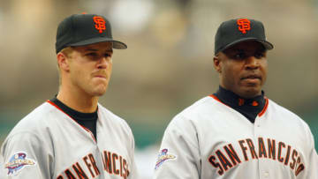 Former SF Giants stars Jeff Kent and Barry Bonds both won National League Most Valuable Player awards with the team in the early 2000s. (Photo by Donald Miralle/Getty Images)