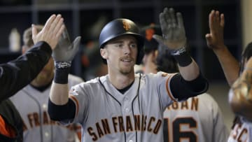 Matt Duffy of the San Francisco Giants celebrates after hitting a home run. (Photo by Mike McGinnis/Getty Images)