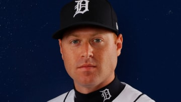 LAKELAND, FL - FEBRUARY 20: Mike Gerber #13 of the Detroit Tigers poses for a photo during photo days on February 20, 2018 in Lakeland, Florida. (Photo by Kevin C. Cox/Getty Images)
