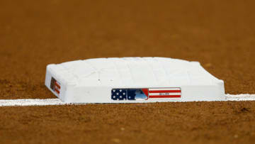 MIAMI, FL - JULY 04: A detail of third base with Independence Day themed logo prior to the game between the Miami Marlins and the Tampa Bay Rays at Marlins Park on July 4, 2018 in Miami, Florida. (Photo by Michael Reaves/Getty Images)