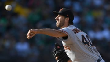 OAKLAND, CA - JULY 21: Madison Bumgarner #40 of the San Francisco Giants pitches against the Oakland Athletics in the bottom of the first inning at the Oakland Alameda Coliseum on July 21, 2018 in Oakland, California. (Photo by Thearon W. Henderson/Getty Images)