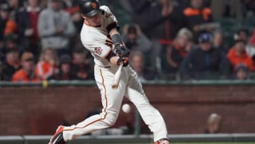 SAN FRANCISCO, CA - SEPTEMBER 26: Kelby Tomlinson #37 of the San Francisco Giants bats against the San Diego Padres in the bottom of the seventh inning at AT&T Park on September 26, 2018 in San Francisco, California. (Photo by Thearon W. Henderson/Getty Images)