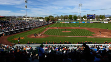 SCOTTSDALE, ARIZONA - FEBRUARY 25: An overview of the spring training game between the Chicago White Sox and San Francisco Giants at Scottsdale Stadium on February 25, 2019 in Scottsdale, Arizona. (Photo by Jennifer Stewart/Getty Images)
