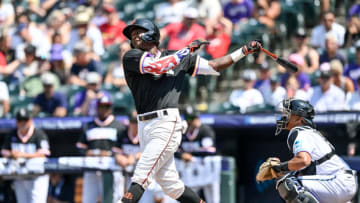 DENVER, CO - JULY 11: Marco Luciano #10 of National League Futures Team bats against the American League Futures Team at Coors Field on July 11, 2021 in Denver, Colorado. (Photo by Dustin Bradford/Getty Images)