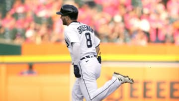 DETROIT, MI - JULY 21: Robbie Grossman #8 of the Detroit Tigers rounds the bases on a solo home run against the Texas Rangers during the first inning at Comerica Park on July 21, 2021, in Detroit, Michigan. (Photo by Duane Burleson/Getty Images)