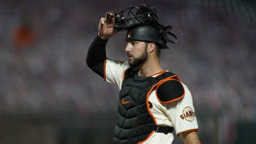 Joey Bart #21 of the SF Giants looks on walking back to his position against the Arizona Diamondbacks in the top of the eighth inning at Oracle Park on September 07, 2020. (Photo by Thearon W. Henderson/Getty Images)