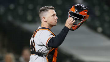 SEATTLE, WASHINGTON - APRIL 02: Buster Posey #28 of the SF Giants looks on in the fifth inning against the Seattle Mariners at T-Mobile Park on April 02, 2021 in Seattle, Washington. (Photo by Steph Chambers/Getty Images)