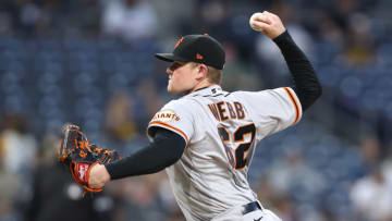 SAN DIEGO, CALIFORNIA - APRIL 30: Logan Webb #62 of the San Francisco Giants pitches during the first inning of a game against the San Diego Padres at PETCO Park on April 30, 2021 in San Diego, California. (Photo by Sean M. Haffey/Getty Images)