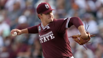 OMAHA, NEBRASKA - JUNE 30: Will Bednar #24 of the Mississippi St. pitches against Vanderbilt in the bottom of the first inning during game three of the College World Series Championship at TD Ameritrade Park Omaha on June 30, 2021 in Omaha, Nebraska. (Photo by Sean M. Haffey/Getty Images)