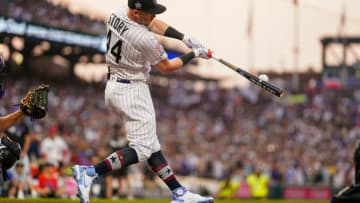DENVER, COLORADO - JULY 12: Trevor Story #27 of the Colorado Rockies (wearing #44 in honor of Hank Aaron) bats during the 2021 T-Mobile Home Run Derby at Coors Field on July 12, 2021 in Denver, Colorado. (Photo by Matt Dirksen/Colorado Rockies/Getty Images)