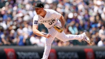 DENVER, COLORADO - JULY 18: Starting pitcher Jon Gray #55 of the Colorado Rockies throws against the Los Angeles Dodgers in the second inning at Coors Field on July 18, 2021 in Denver, Colorado. (Photo by Matthew Stockman/Getty Images)