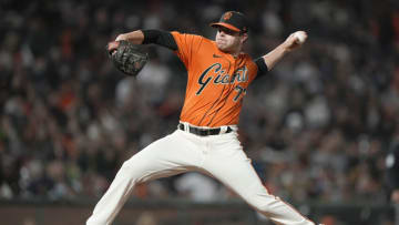 SAN FRANCISCO, CALIFORNIA - JULY 30: Sammy Long #73 of the SF Giants pitches against the Houston Astros in the top of the six inning at Oracle Park on July 30, 2021 in San Francisco, California. (Photo by Thearon W. Henderson/Getty Images)