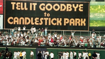 """30 Sep 1999: The scoreboard displays the message """"Tell it Goodbye to Candlstick"""" during the game between the Los Angeles Dodgers and the San Francisco Giants at 3 Com Park in San Francisco, California. The Dodgers defeated the Giants 9-4. Mandatory Credit: Jed Jacobsohn /Allsport"""