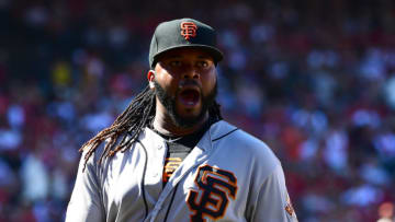 ANAHEIM, CA - APRIL 22: Johnny Cueto #47 of the San Francisco Giants reacts as he returns to the dugout after forcing Luis Valbuena #18 of the Los Angeles Angels of Anaheim to hit into a double play to end a bases loaded threat in the sixth inning of the game at Angel Stadium on April 22, 2018 in Anaheim, California. (Photo by Jayne Kamin-Oncea/Getty Images)