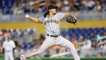 MIAMI, FL - JUNE 14: Dereck Rodriguez #57 of the San Francisco Giants delivers a pitch in the first inning against the Miami Marlins at Marlins Park on June 14, 2018 in Miami, Florida. (Photo by Michael Reaves/Getty Images)