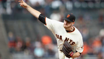 SAN FRANCISCO, CA - AUGUST 21: Chris Stratton #34 of the San Francisco Giants pitches against the Milwaukee Brewers in the first inning at AT&T Park on August 21, 2017 in San Francisco, California. (Photo by Ezra Shaw/Getty Images)