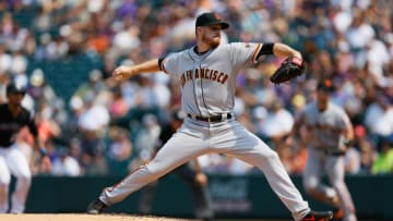 DENVER, CO - SEPTEMBER 4: Starting pitcher Chris Stratton #34 of the San Francisco Giants delivers to home plate during the second inning against the Colorado Rockies at Coors Field on September 4, 2017 in Denver, Colorado. (Photo by Justin Edmonds/Getty Images)