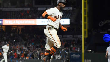SAN FRANCISCO, CA - APRIL 07: Andrew McCutchen #22 of the San Francisco Giants reacts as he starts to trot around the bases after hitting a walk-off three-run homer to defeat the Los Angeles Dodgers 7-5 in the bottom of the 14th inning at AT&T Park on April 7, 2018 in San Francisco, California. (Photo by Thearon W. Henderson/Getty Images)