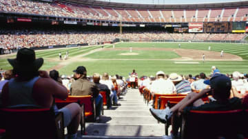 SAN FRANCISCO - AUGUST 23: A general view of the field from the seats behind first base during the MLB game between the Pittsburgh Pirates and the San Francisco Giants on August 23, 1992 in San Francisco, California. (Photo by Otto Greule Jr./Getty Images)