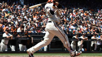 SAN FRANCISCO, CA - JUNE 23: Brandon Crawford #35 of the San Francisco Giants hits a two-run rbi double against the San Diego Padres in the bottom of the six inning at AT&T Park on June 23, 2018 in San Francisco, California. (Photo by Thearon W. Henderson/Getty Images)
