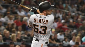 PHOENIX, AZ - AUGUST 03: Austin Slater #53 of the San Francisco Giants hits an RBI single in the first inning of the MLB game against the Arizona Diamondbacks at Chase Field on August 3, 2018 in Phoenix, Arizona. (Photo by Jennifer Stewart/Getty Images)
