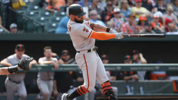 BALTIMORE, MARYLAND - JUNE 01: Kevin Pillar #1 of the San Francisco Giants bats against the Baltimore Orioles at Oriole Park at Camden Yards on June 1, 2019 in Baltimore, Maryland. (Photo by Patrick Smith/Getty Images)