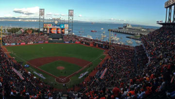 SAN FRANCISCO, CA - OCTOBER 24: (EDITORS NOTE: Image was created using a Panoramic feature on an iPhone camera.) A general view of the field between the San Francisco Giants and the Detroit Tigers during Game One of the Major League Baseball World Series at AT&T Park on October 24, 2012 in San Francisco, California. (Photo by Thearon W. Henderson/Getty Images)