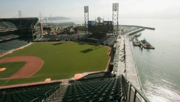SAN FRANCISCO - JUNE 21: A general view of the field and McCovey Cove at SBC Park, home of the San Francisco Giants before the MLB game against the Los Angeles Dodgers on June 21, 2004 in San Francisco, California. (Photo by Jed Jacobsohn/Getty Images)