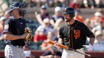 SCOTTSDALE, AZ - MARCH 10: Mac Williamson #51 of the San Francisco Giants reacts after striking out in the fourth inning against the Cleveland Indians during the spring training game at Scottsdale Stadium on March 10, 2017 in Scottsdale, Arizona. (Photo by Tim Warner/Getty Images)