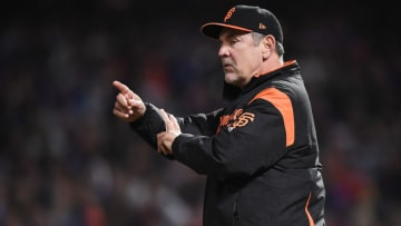 SAN FRANCISCO, CA - APRIL 28: Manager Bruce Bochy #15 of the San Francisco Giants comes out an signals the bullpen to make a pitching change against the Los Angeles Dodgers in the top of the seventh inning of game two of a double header at AT&T Park on April 28, 2018 in San Francisco, California. (Photo by Thearon W. Henderson/Getty Images)