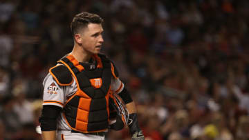 PHOENIX, AZ - JUNE 29: Catcher Buster Posey #28 of the San Francisco Giants in action during the MLB game against the Arizona Diamondbacks at Chase Field on June 29, 2018 in Phoenix, Arizona. (Photo by Christian Petersen/Getty Images)