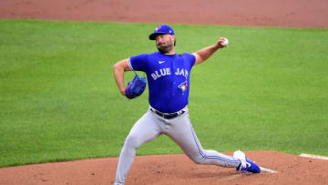 Jun 18, 2021; Baltimore, Maryland, USA; Toronto Blue Jays pitcher Robbie Ray (38) throws a pitch in the first inning against the Baltimore Orioles at Oriole Park at Camden Yards. Mandatory Credit: Evan Habeeb-USA TODAY Sports