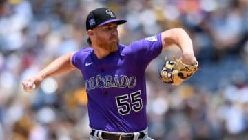 Colorado Rockies starting pitcher Jon Gray (55) throws a pitch against the San Diego Padres during the first inning at Petco Park. (Orlando Ramirez-USA TODAY Sports)