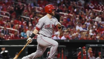 Sep 29, 2016; St. Louis, MO, USA; Cincinnati Reds catcher Tucker Barnhart (16) hits a one run single off of St. Louis Cardinals starting pitcher Alex Reyes (not pictured) during the second inning at Busch Stadium. Mandatory Credit: Jeff Curry-USA TODAY Sports