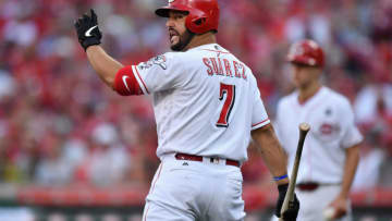 CINCINNATI, OH - JULY 19: Eugenio Suarez #7 of the Cincinnati Reds gestures back to the umpire after striking out. (Photo by Jamie Sabau/Getty Images)