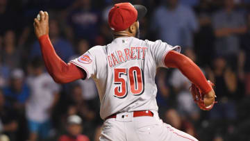 CHICAGO, ILLINOIS - JULY 27: Amir Garrett #50 of the Cincinnati Reds pitches. (Photo by Quinn Harris/Getty Images)