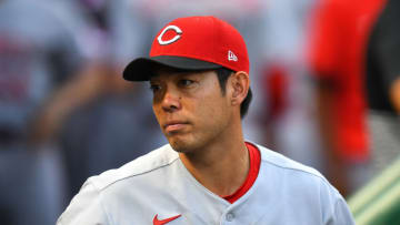 PITTSBURGH, PA - SEPTEMBER 14: Shogo Akiyama #4 of the Cincinnati Reds looks on prior to the game. (Photo by Joe Sargent/Getty Images)