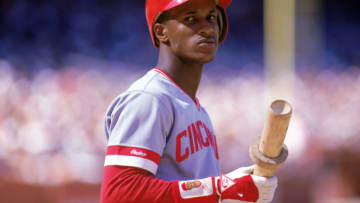 1987: Eric Davis of the Cincinnati Reds holds his bat during a MLB game in the 1987 season. ( Photo by: Otto Greule Jr/Getty Images)