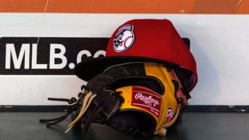 SAN FRANCISCO, CA - JULY 26: Detailed view of a Cincinnati Reds (Photo by Jason O. Watson/Getty Images) *** Local Caption ***